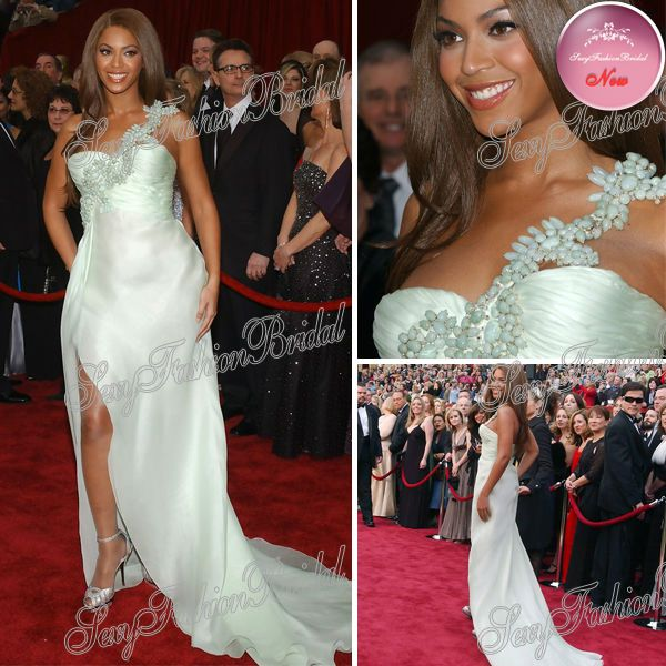 2013 Beyonce Red Carpet Dress Sexy One-shoulder With Beaded A-line Floor length Side Slits Chiffon Celebrity Dresses $130.00