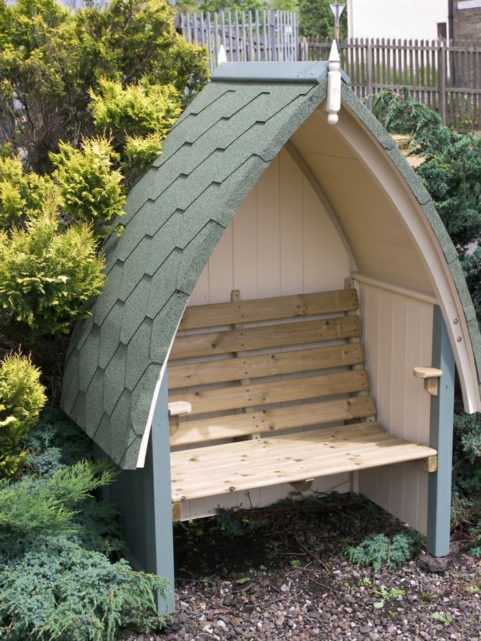 Great Exterior Ideas For Garden Bench With Roof Bench Exterior Garden Great Ideas Roof Summer House Garden Garden Arbour Seat Garden Arbor