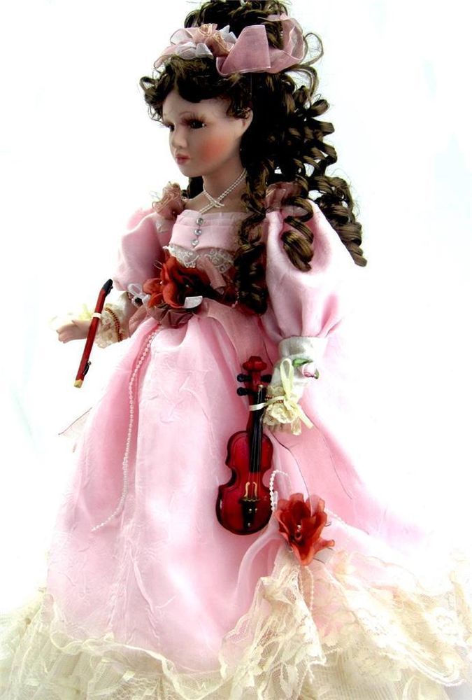 porcelain victorian music doll with violin 18 h rare