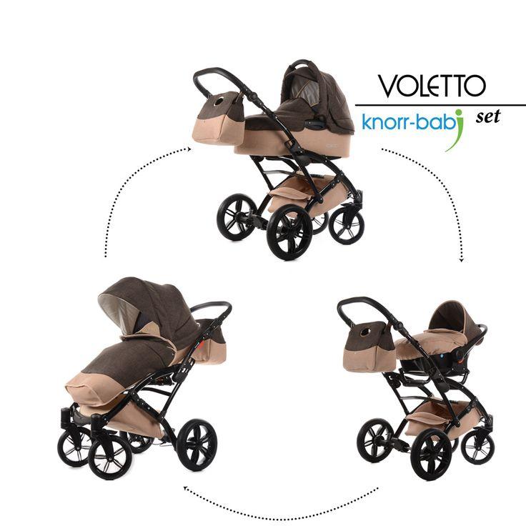 """Kombi-Kinderwagen Komplettset """"Voletto, Leinen Style* Set 3 in 1, sahara braun"""