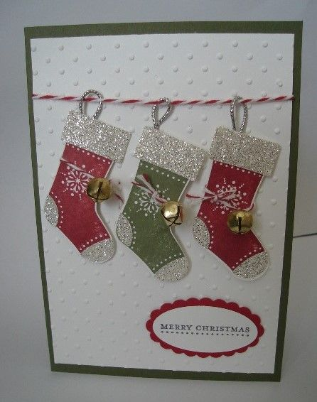 Sparkling Stockings  Sparkling Stockings  Stamps: Stitched Stockings, Teeny Tiny Sentiments By:Julie Gearinger
