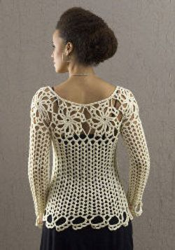 I love the free crochet patterns on this website.  Most of them are donated by members, so you have to be prepared for the occasional typo.  This sweater is sexy yet refined.