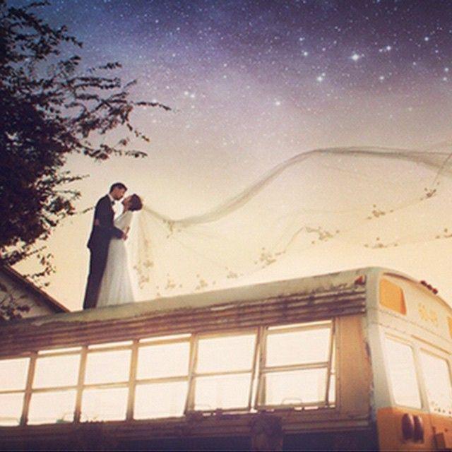 #StarryNight #SchoolBus #creative prewedding session by #BONGStudio