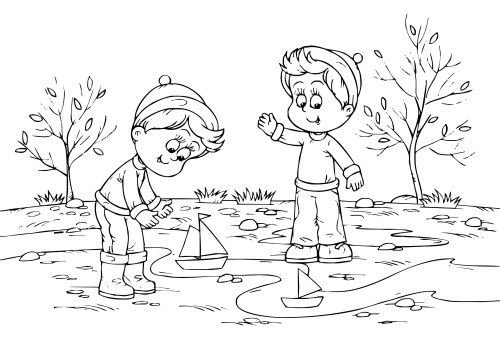 Autumn Coloring Page For Kids.    It's a Autumn Playtime Fun coloring page for kids! Just perfect for a Fall-theme unit.     C
