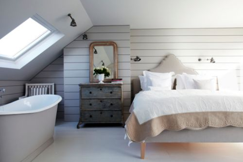 Inspired loft conversion with bath in bedroom (image from Shoot)