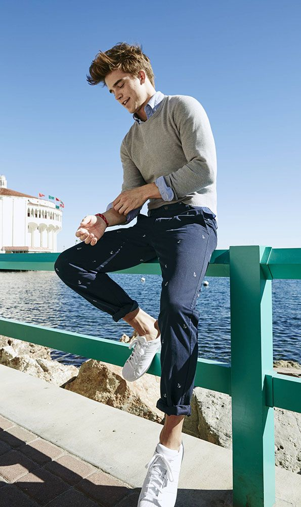 Traditional naval motifs, like the anchors on these Dockers chinos, will give your Spring ensembles a stylish look inspired by the Deep Blue Sea — translation: major cool points.