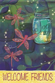 Welcome Friends/Summer Nights Garden Flag/Glitter FlagTrends
