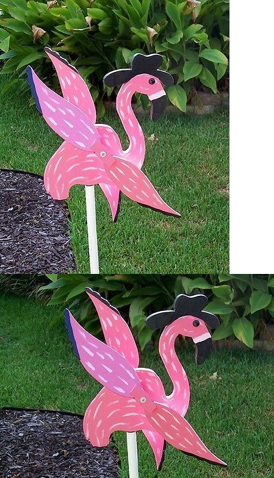 Windmills and Wind Spinners 115772: Wind Spinner Flamingo Pink Cowboy Hat Black Handcrafted Wood Whirligig -> BUY IT NOW ONLY: $45.95 on eBay!