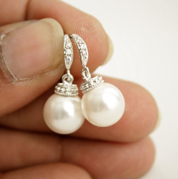Bridal Earrings Wedding Pearl Jewelry Round White by poetryjewelry, $25.00