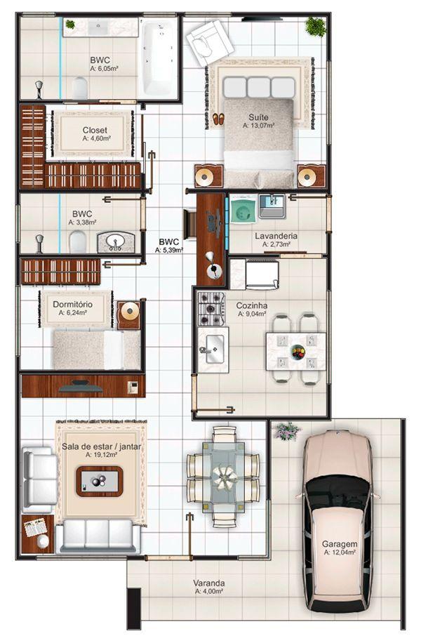 96 m² e dois quartos (a preferida até agora) || 103 - planta baixa humanizada