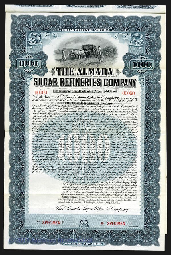 Almada Sugar Refineries Co. 1902. - Archives International Auctions