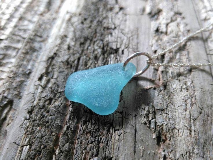 Ocean blue sea glass// Sterling silver// Sea glass// Beach glass by RedIslandSeaGlass on Etsy