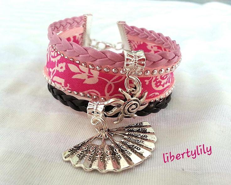 Bracelet tissu Liberty Manchette véritable Liberty rose simili cuir LE.SOLEIL : Bracelet par libertylily