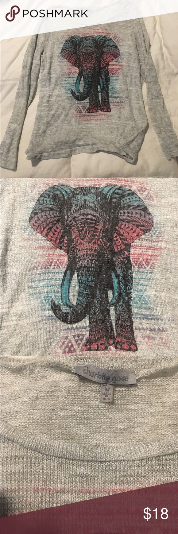Charolette rouse elephant safari sweater M Charolette rouse lightweight  elephant safari sweater M, in great condition Charlotte Russe Sweaters Crew & Scoop Necks