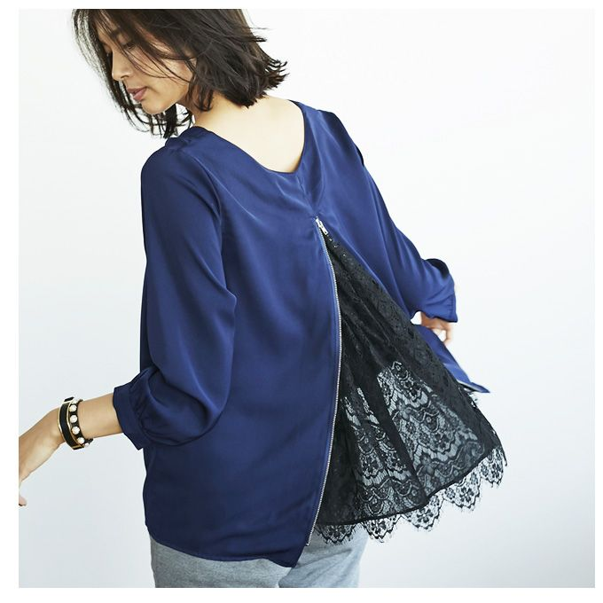 【Back lace blouse】レディース バックレース トップス
