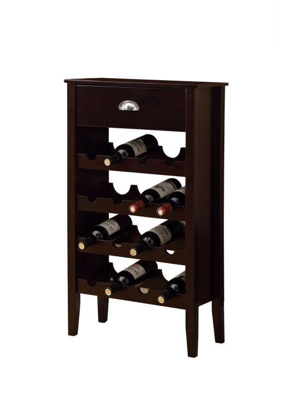 Monarch Specialties Wine storage cabinet IV 16 Bottle Wine Storage Cabinet with Cappuccino Furniture Storage Wine Storage
