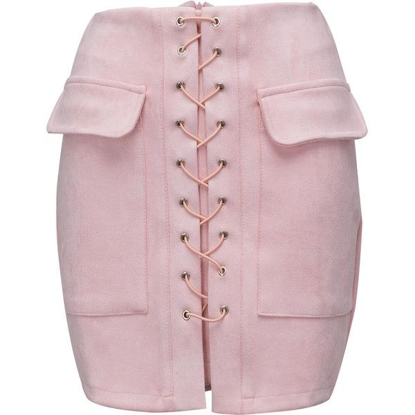 Pink Faux Suede Lace Up Front Pencil Mini Skirt (450 ARS) ❤ liked on Polyvore featuring skirts, mini skirts, mini pencil skirt, pink mini skirt, lace up skirt, bodycon mini skirt and faux suede mini skirt