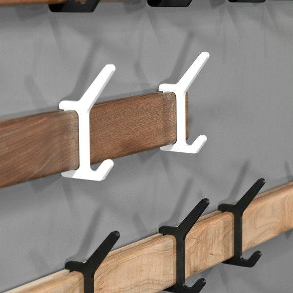 FEDERAL hook system by Isabella. sistema de perfil a la pared con ganchos que desplazan a lo largo