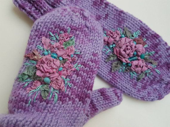 Lilac purple mittens Purple Mittens with by MySunsetColor on Etsy