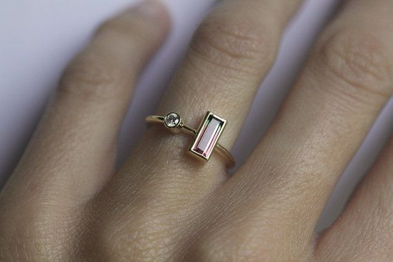 Baguette Diamond Ring Bi Color Tourmaline Diamond by MinimalVS