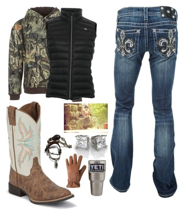"""Chore time 1.25.18"" by mud-lovin-redneck ❤ liked on Polyvore featuring Miss Me, Arborwear, Ariat, Justin Boots and Mountain Khakis"