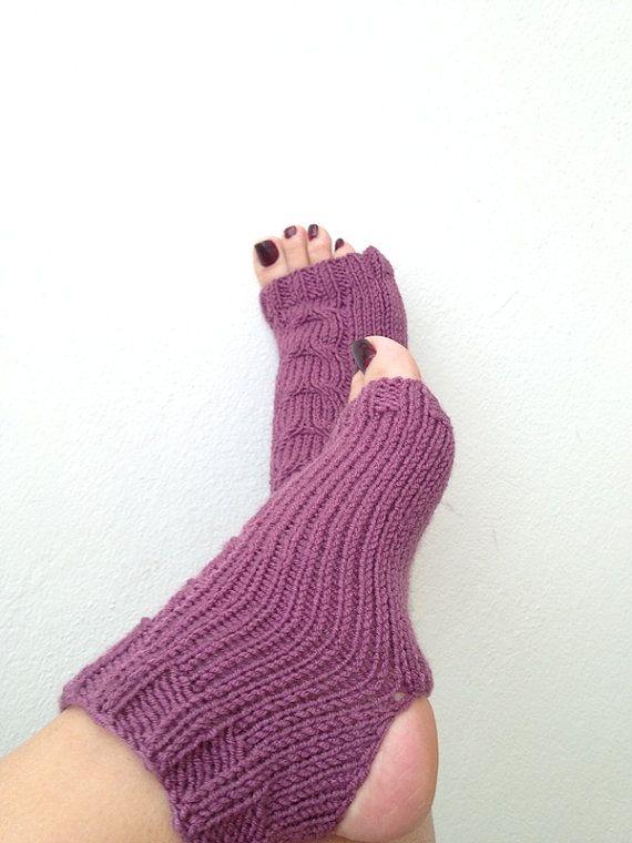 Violet  toeless  yoga socks sockspilatesflip by NesrinArt on Etsy, $21.00