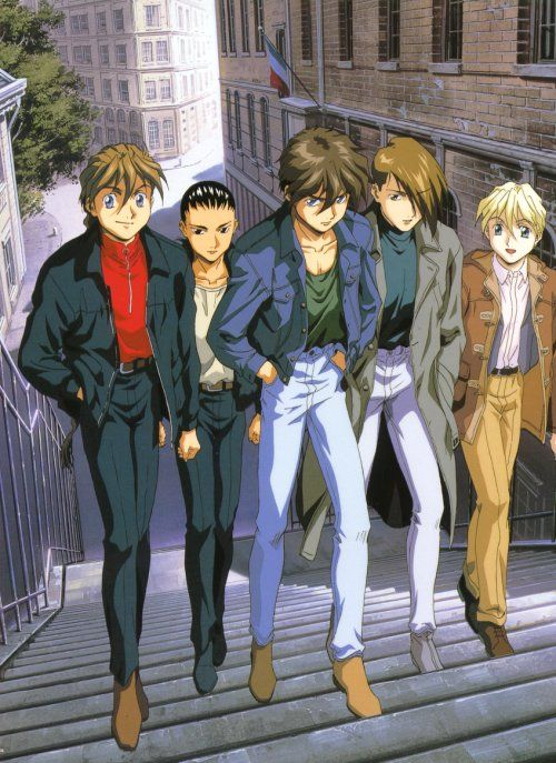 Gundam Wing ~~ Five dangerous warriors out for a stroll. Yes, they're just walking along not looking for trouble, but... ?