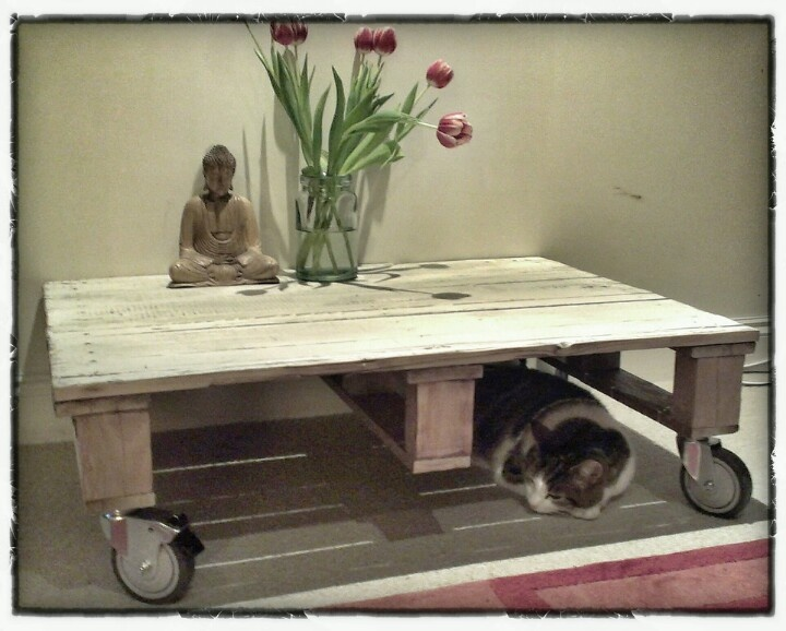 Upcycled pallet coffee table. Also an excellent bolt hole for the cat.  #upcycling #coffee table #cat #home