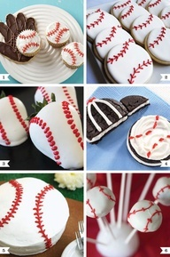 Instead of cake pops or even cupcakes...you could easily do a big round cake, ice it in white and then do the red stitching with red lace licorice.