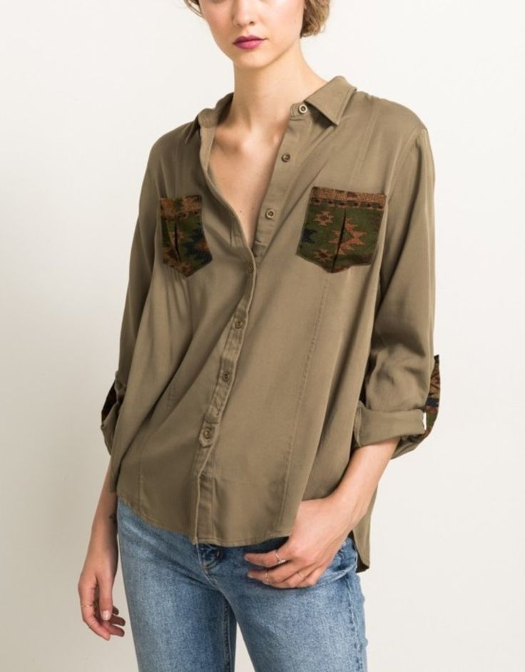 """Fall is in the air! The Olive Navajo Print Pocket Button Shirt has roll up 3/4"""" sleeves and a scalloped hem. - 100% Cotton - Runs true to Size"""