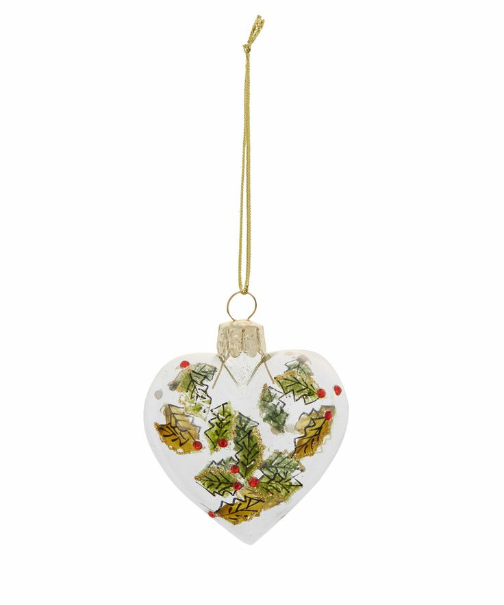 Holly Heart Glass Bauble | Baubles from the Liberty Christmas Shop | Liberty.co.uk