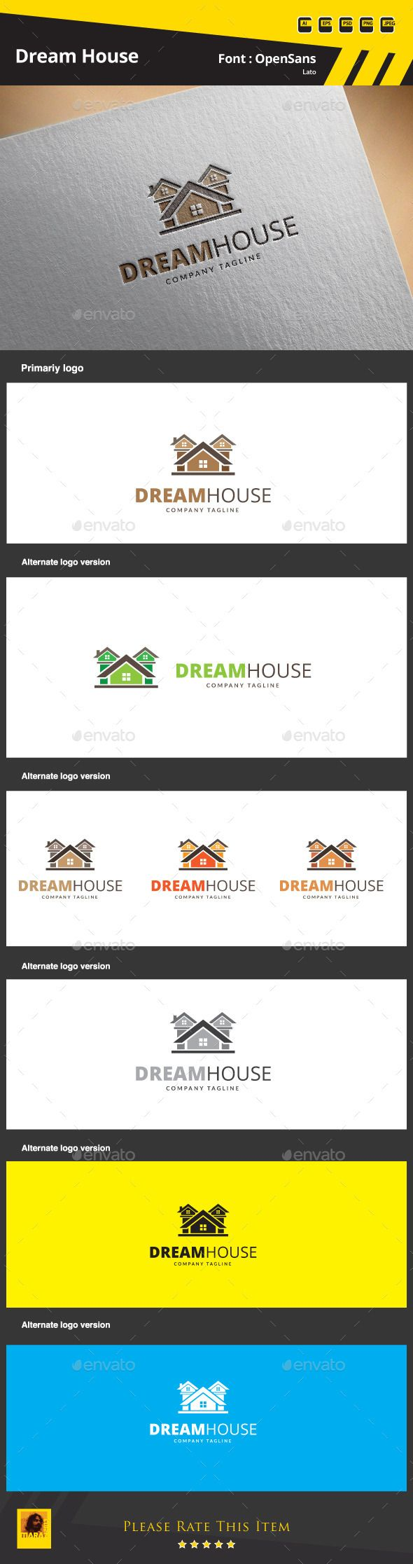 Dream House Logo Template — Photoshop PSD #metrics locator #financial district • Available here → https://graphicriver.net/item/dream-house-logo-template/9854162?ref=pxcr