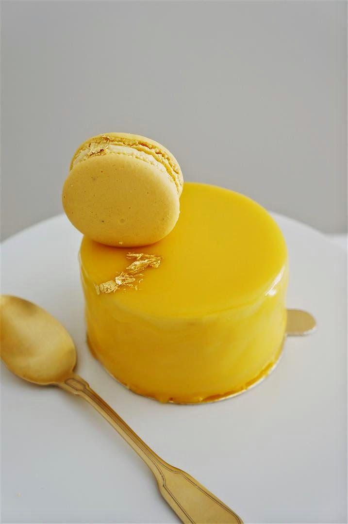 Mango Glaze (for Mango Bliss entremet): white choc., mango pure, gelatin, sugar, glucose and cream.