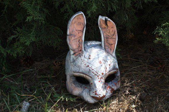 A Dead By Daylight Inspired Huntress Mask Every Time I Paint This Mask I Use Screenshots As A Reference To Be As Accurate T Bunny Mask Huntress Mask Drawing