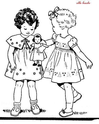 Redwork fillettes poupées