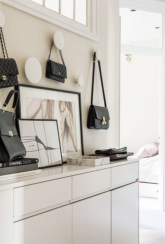 Fashion and designer bags as an interior detail
