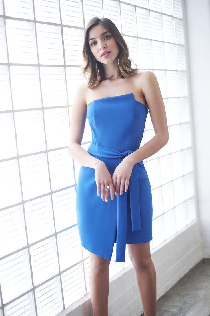 Asymmetric Neck Bandeau Mini Dress