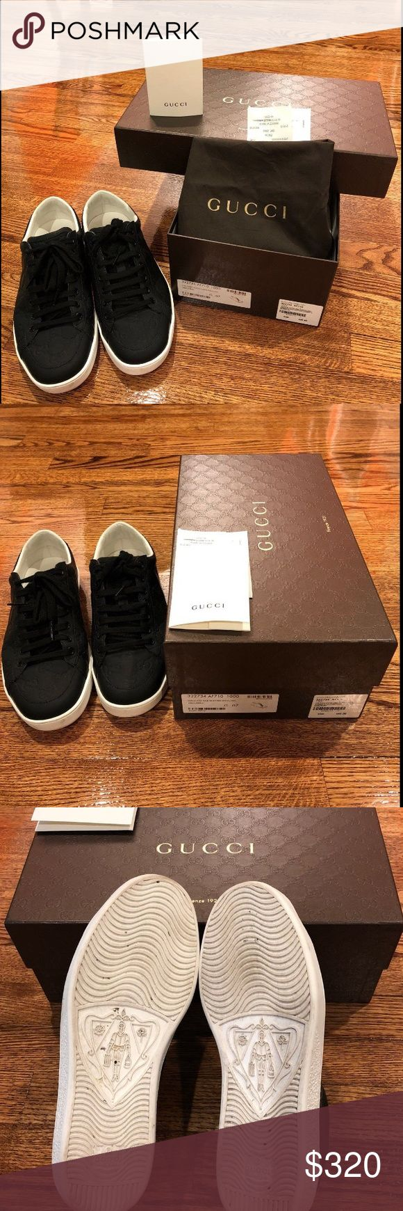 Authentic Gucci Men Shoes I bought in Virginia. I had received everything.......  A little too big for my husband. He worn 2 times, still in good condition. Regular price on the box plus tax UK size 7, US size 9 Gucci Shoes Sneakers