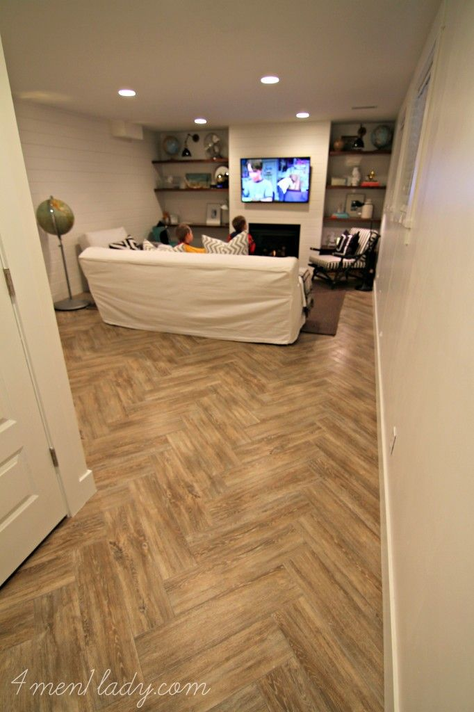 Basement Family Room With Our Wood Oak Faux Wood Tile