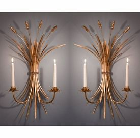 HC584 - Antique Gold Iron Wheat Wall Sconce, Set of 2 - Candle Holders