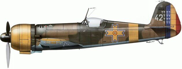 The IAR 80 from a structure of 8-th fighter group Air Force of Romania, autumn of 1941.