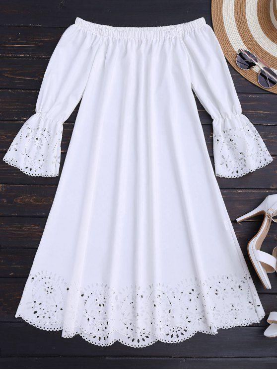 Laser Cut Midi Off The Shoulder Dress - WHITE S