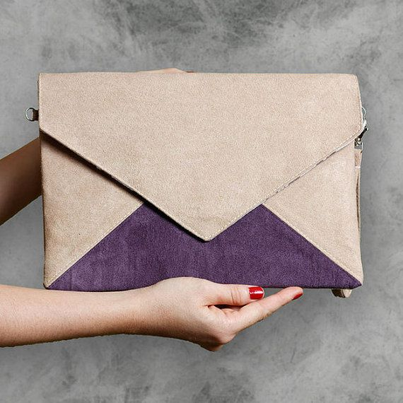 Clutch bag Letter Medium beige purple by cocoonobags on Etsy