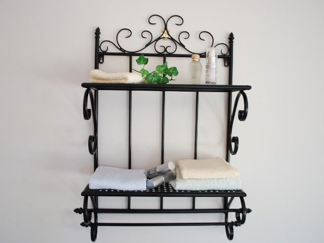 hand iron french style bathroom shelf towel rails. Black Bedroom Furniture Sets. Home Design Ideas