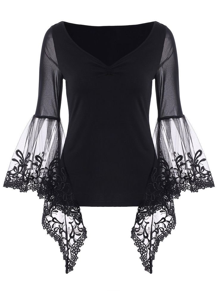 $10.13 Bell Sleeve Lace Panel Plus Size T-Shirt in Black | Sammydress.com