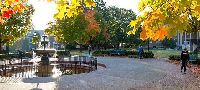 The fountain located at the heart of Radford University's campus is a common gathering spot for students who want to study, meet with friends, or just enjoy the beautiful weather that Radford has to offer!