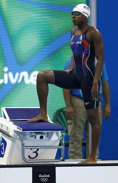 #RIO2016 USA's Simone Manuel prepares to compete in a Women's 100m Freestyle heat during the swimming event at the Rio 2016 Olympic Games at the Olympic...