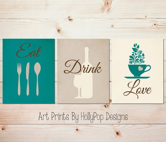 Teal Kitchen decor Modern kitchen art set Kitchen wall prints