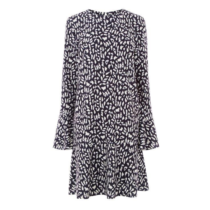ANIMAL FLUTE SLEEVE DRESS | Warehouse
