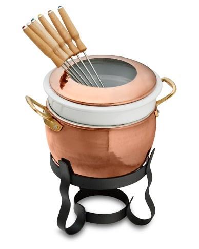 Copper fondue double boiler pot. Love the easy clean ceramic.